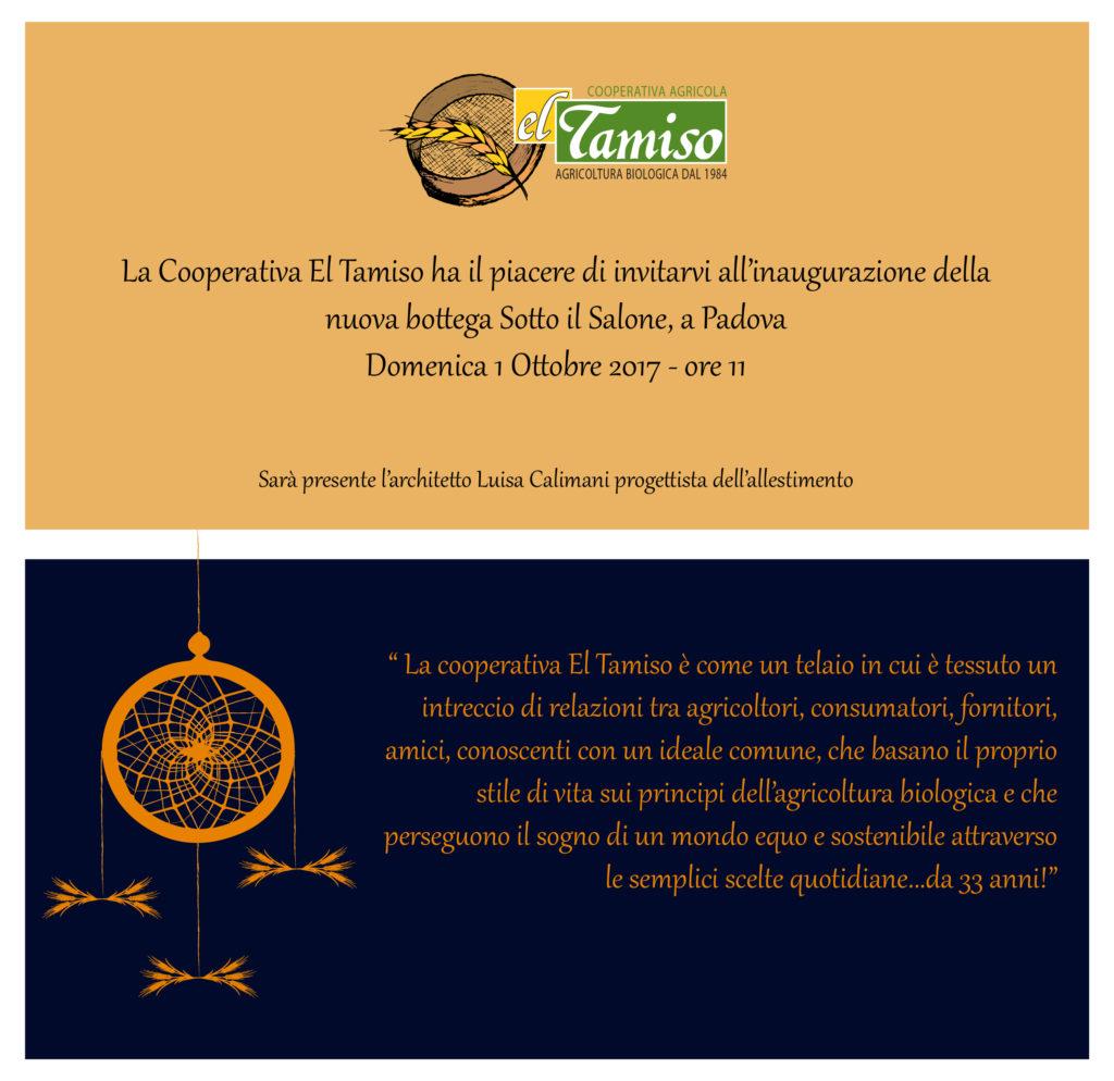 Invito inaugurazione Negozio El Tamiso 1. ottobre 2017